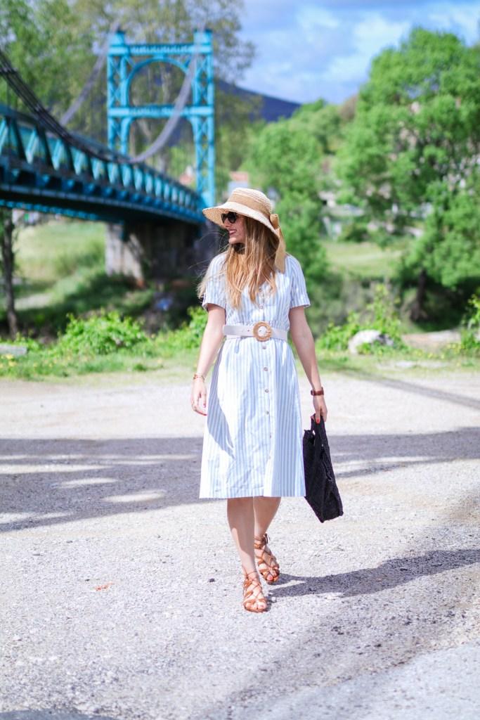 Petite robe rayée champêtre blog mode