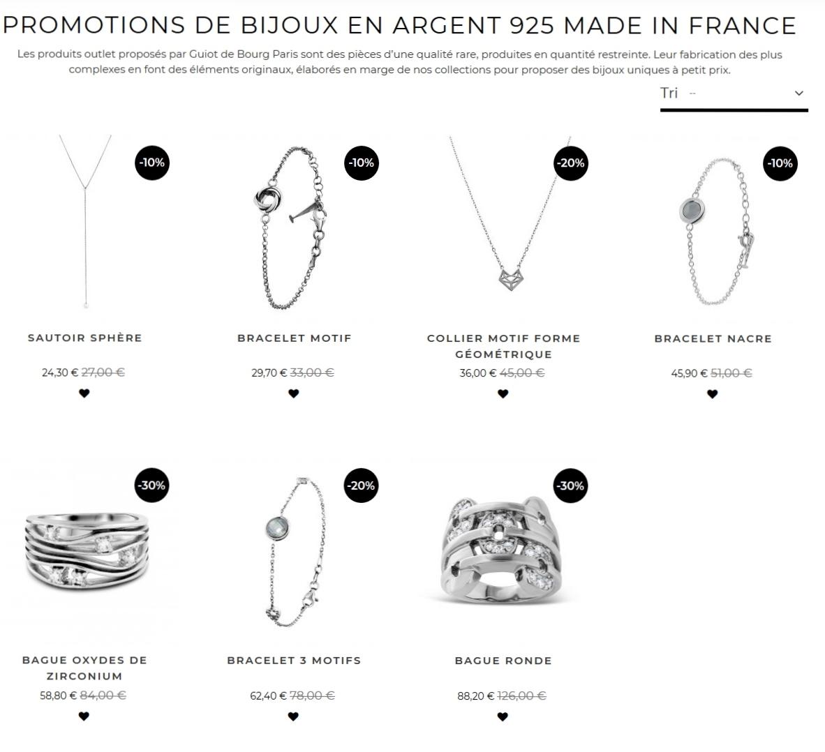 promotions bijoux argent Guiot de Bourg