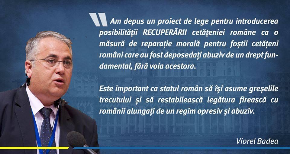 Președintele PNL Diaspora, Viorel Badea, introduce un proiect de lege pentru RECUPERAREA cetățeniei române