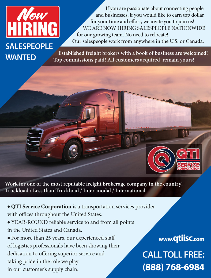 SALESPEOPLE WANTED – QTIISC – Freight Brokers