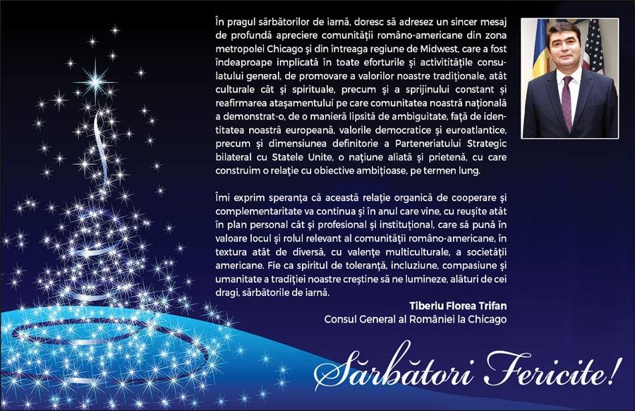 Tiberiu Florea Trifan, Consul General al României la Chicago: Sărbători Fericite!