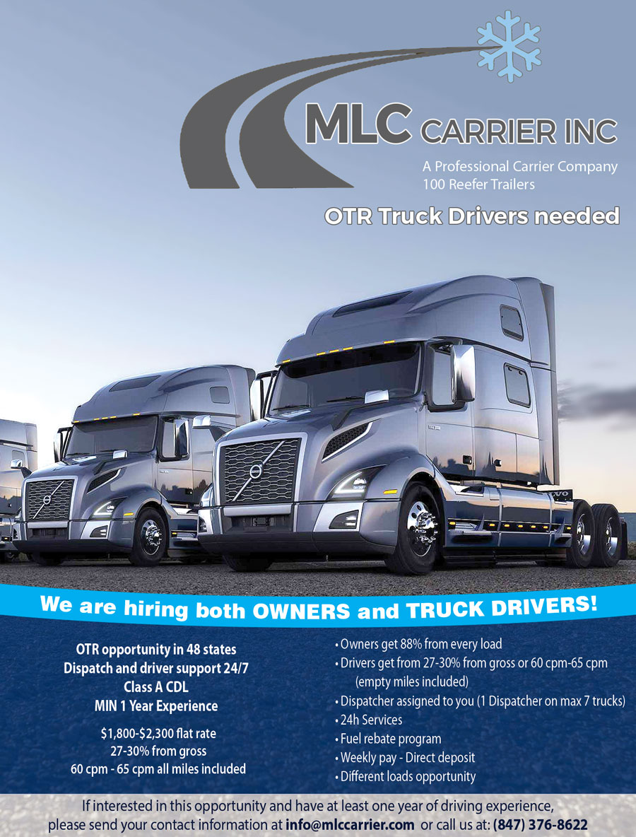 MLC Carrier Inc. – OTR Truck Drivers needed