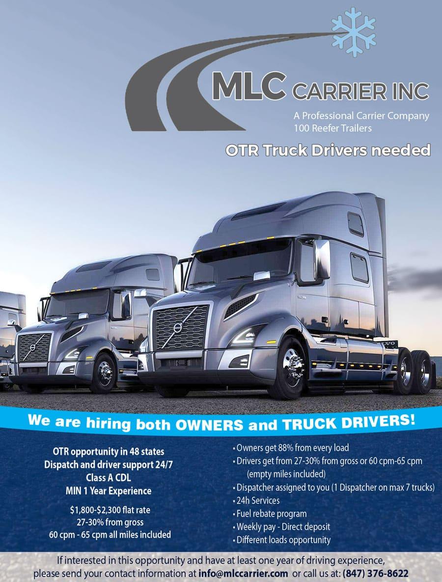 MLC Carrier Inc. – OTR Truck Drivers needed