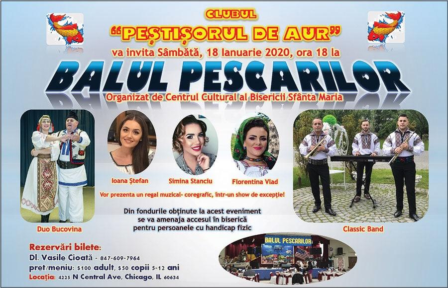 Sunteți invitați la: BALUL PESCARILOR – Sâmbătă, 18 Ianuarie 2020, ora 18