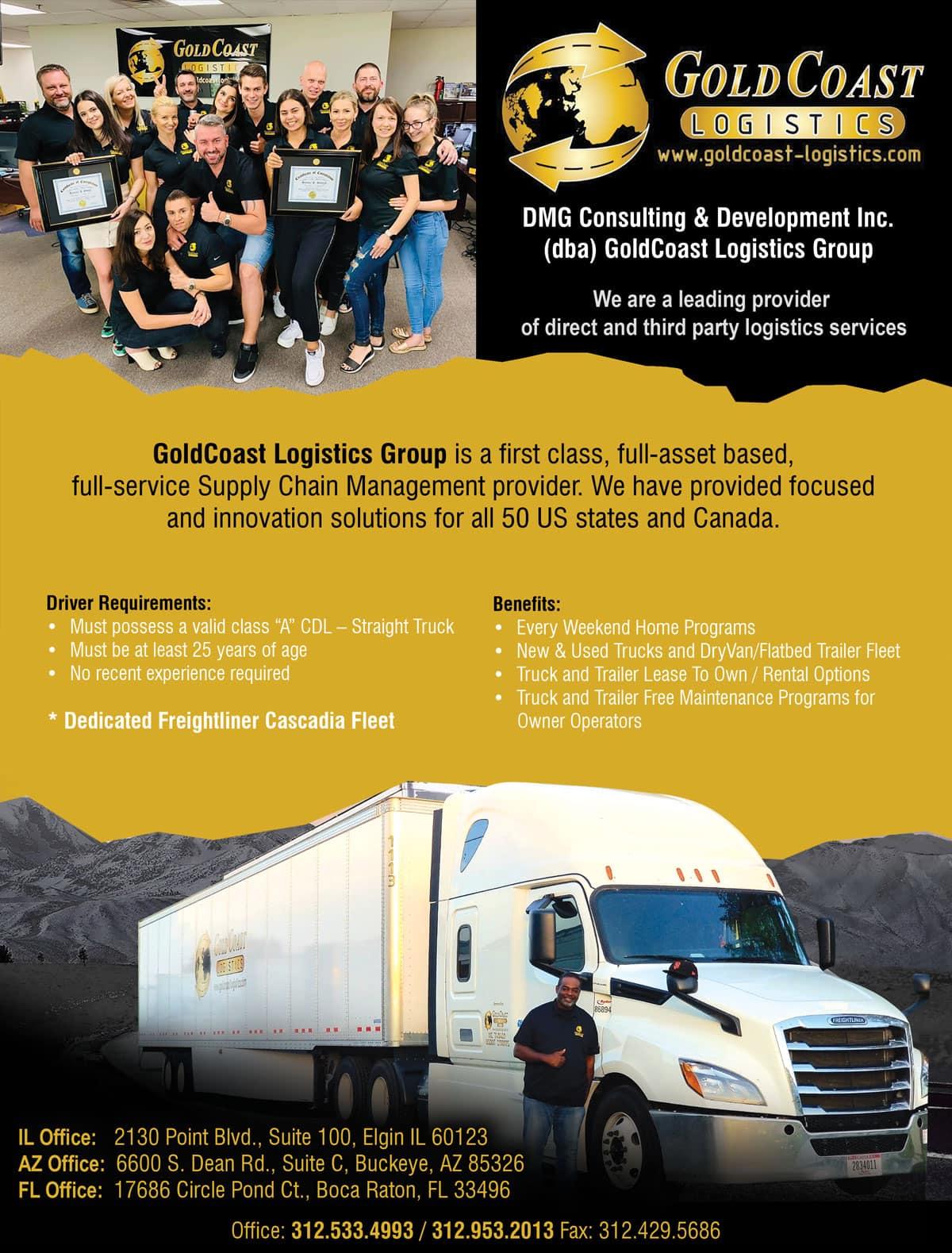 GoldCoast Logistics Inc. – CDL Class A – Drivers Wanted