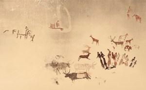Calc de les pintures i gravats de la Roca dels Moros del Cogul.