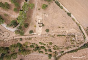 Imatge aèria de situació del sondeig 5 realitzat al sector nord-oest del fossat al Puig de Sant Andreu