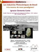 Cartell de la conferència: Les industries Plistocèniques de Brasil. A la recerca de nous paradigmes!