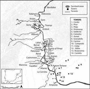 Mapa: Zona d'estudi al Baix Ebre