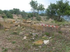 Racó D'Omedo (Roquetes), mur de tapial, assentament andalusí