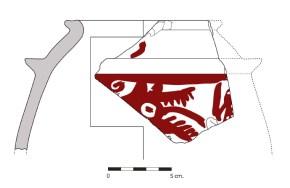 Fragment d'una gerra de doble vora, decorada amb el cap d'un llop, procedent del jaciment del Corral del Castell (Cunit), un exemplar únic al nostre país.