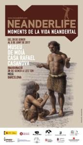 """Pòster de l'exposició: """"Neanderlife. Moments de la Vida Neandertal"""""""