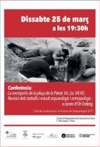 """Cartell de la conferència: """"la necròpolis de la plaça de la Pietat, Vic (ssVII-XI). Revisió dels treballs i estudi arqueològic i antropològic"""""""