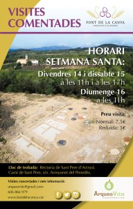 """Cartell de les activitats al jaciment de la Font de la Canya per setmana Santa: """"Vine a conèixer per setmana santa l'origen de la vinya i el vi al Penedès"""""""