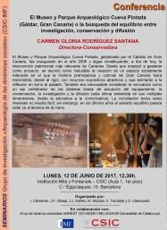 """Conferència: """"El Museo y Parque Arqueológico Cueva Pintada (Gáldar, Gran Canaria) o la búsqueda del equilibrio entre investigación, conservación y difusión"""", a càrrec de Carmen-Gloria Rodríguez Santana, Directora-Conservadora de Cueva Pintada"""