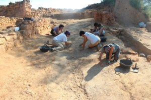 Grups d'estudiants i d'arqueòlegs excavant un terra entapissat de restes de potes d'ovella i cabra, d'una de les sales de la casa grega (sala menjador o symposium)