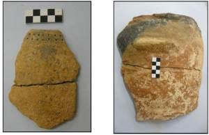 """1. Ceràmiques recuperades al jaciment de """"El Molló"""" (Móra la Nova) durant l'intervenció arqueològica del 2008 dirigida per M. Piera. Cronologia del Neolític Final. (Font: SAPPO-UAB)"""