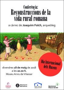 """Cartell de la conferència """"Reconstruccions de la vida rural romana"""" al Museu Arxiu de Vilassar"""