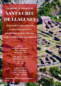 Cartell del despoblat medieval de Santa Creu de Llagunes (Pallars Sobirà), que obre les portes als visitants durant l'estiu