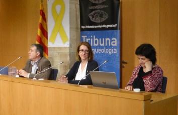 10. Conferenciants i moderador de la sessió de la Tribuna d'Arqueologia sobre el castell Formós de Balaguer del 13/3/2019. Fotografia: Josep Gallart