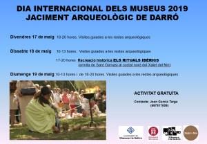 Cartell d'anunci de les activitats organitzades amb motiu del Dia Internacional dels Museus, una recreació històrica que tindrà lloc al jaciment ibèric de Darró, a Vilanova i la Geltrú (Garraf).