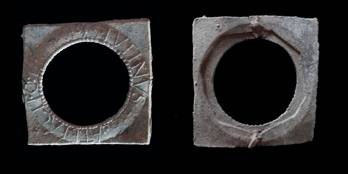 Vistes d'anvers i revers d'un mirall recuperat a la vil·la romana de Can Ring. Fotografia: GRAPE