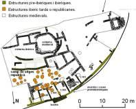 Sector excavat del jaciment del Castellvell, (Olius, Solsonès), en les seves diferents fases