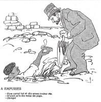 """Caricatura de J. Puig i Cadafalch a les excavacions d'Empúries per J. Junceda a la revista """"¡Cu-Cut!"""" del 8 de juliol del 1909"""