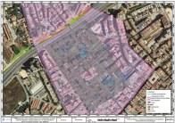1.- Ortofotomapa amb la traça hipotètica dels carrers de la ciutat romana de Baetulo (en gris), les restes arqueològiques conegudes (en blau), la superfície protegida com Bé Cultural d'Interès Nacional–Zona Arqueològica (en lila) i zones de la calçada lateral de la C31 que han estat objecte d'excavació i sondejos (en verd) (Àtics, SL).