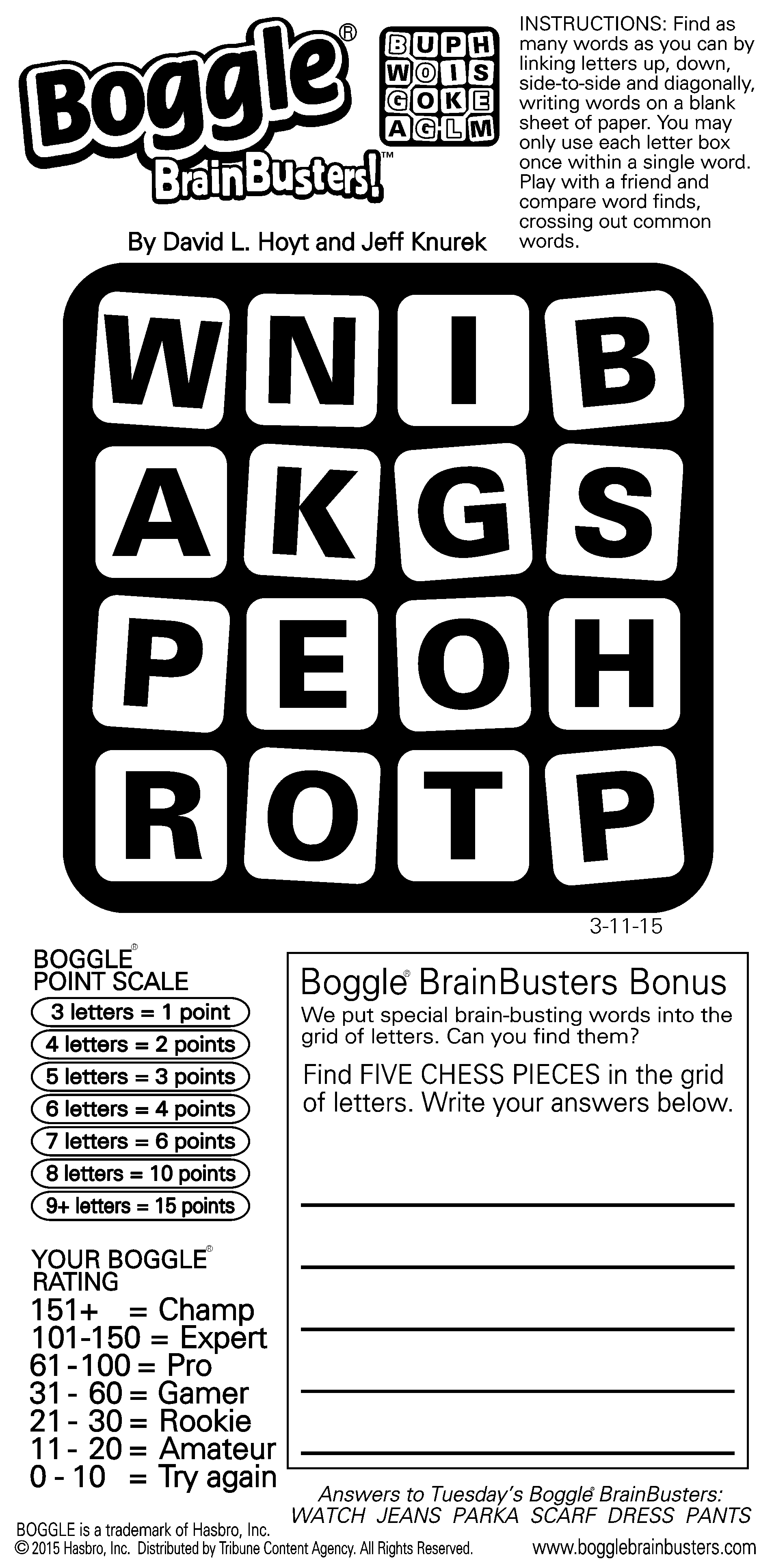 Sample Of Boggle Brainbusters Daily Vertical