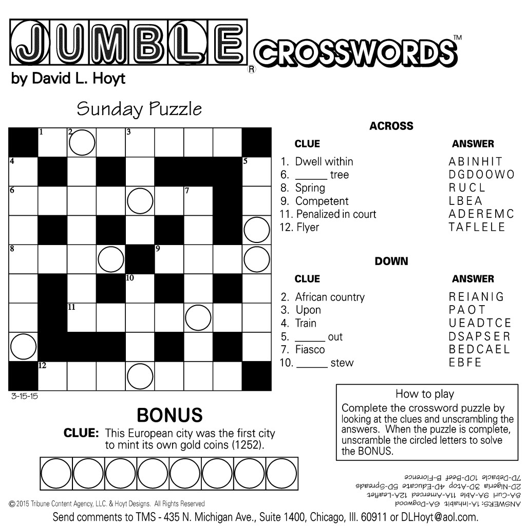 Sample Of Square Sunday Jumble Crosswords