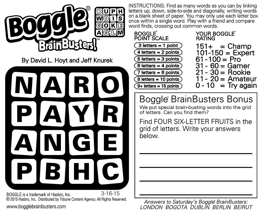 Sample Of Daily Square Boggle Brainbusters
