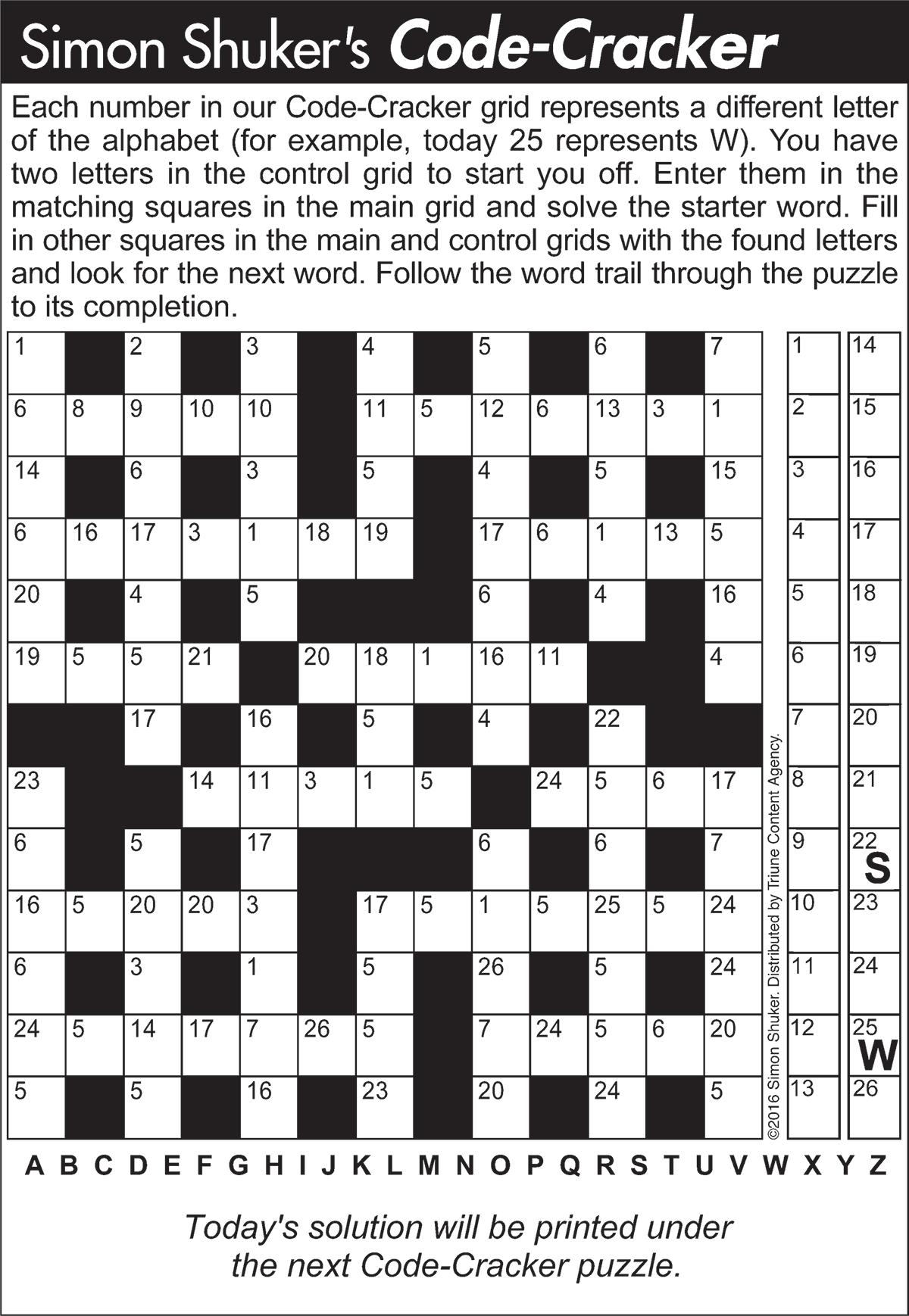 Code Cracker Sample Puzzle 1