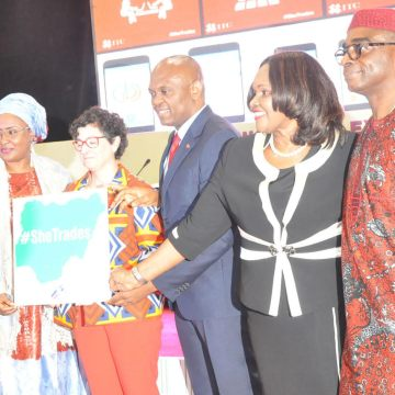 Wife of Vice president, Mrs Dolapo Osinbajo; Wife of president, Mrs Aisha Buhari; Executive Director, International Trade Centre, Ms Arancha Gonzalez; Founder, The Elumelu Foundation, Mr Tony Elumelu; Chief Executive officer, Emzo Pharmaceutical Industries Ltd, Dr Stella Okoli and Executive Director/Chief Executive Council, Nigeria Export promotion Council (NEPC), Mr Olusegun Awolowo, during women in export stakeholders forum and exhibition in Abuja (13-07-2016)….. ENOCK REUBEN
