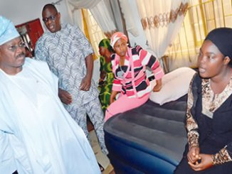 From left,  Oyo State governor, Senator Abiola Ajimobi; Speaker of the State House of Assembly, Honourable Michael Adeyemo and the widow of the slain member of the Assembly, Mrs Bukola Aremu (extreme right), during a condolence visit to the residence of the deceased, in Ibadan, on Monday.