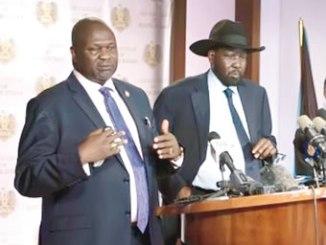 Gunfire erupted shortly after Mr Machar (left) and Mr Kiir, met on Friday. PHOTO: AFP