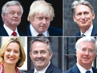 David Davis, Boris Johnson, Philip Hammond, Michael Fallon, Liam Fox and Amber Rudd (clockwise from top left). PHOTO: BBC