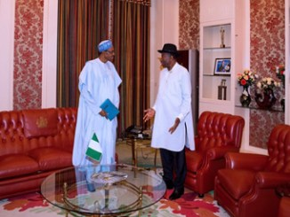 President Muhammadu Buhari during his meeting with former President Goodluck Jonathan in Aso Rock, on Wednesday.