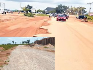A portion of the road leading to some estates in Lokogoma damaged by erosion.