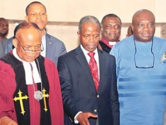 Vice President Prof Yemi Osibanjo (middle); Abia State governor, Okezie Ikpeazu (right), and Prelate/Moderator of General Assembly of Presbyterian Church of Nigeria, Professor Emele Mba Uka, during the 22nd General Assembly of the Presbyterian Church of Nigeria, held at Yaba Parish in Lagos State, recently.