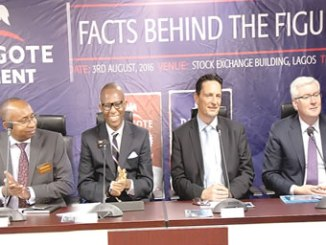 From left, Haruna Jalo-Waziri, Executive Director, Capital Markets, The Nigerian Stock Exchange (NSE); Ade Bajomo, Executive Director, Market Operations and Technology, NSE; Onne Van Der Weijde, Group Managing Director/CEO, Dangote Cement Plc and Brian Egan, Group Chief Finance Officer, Dangote Cement Plc at the Facts Behind the Figures presentation at the Exchange.
