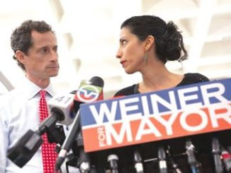 New York mayoral candidate, Anthony Weiner and his wife, Huma Abedin. PHOTO: REUTERS