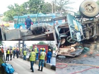 Scenes of the Ikorodu Road accident in Lagos, on Thursday.