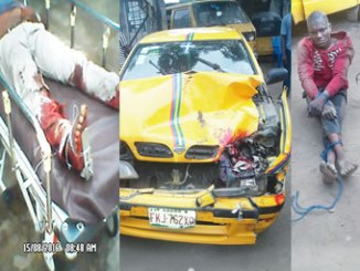Injured LASTMA officer, left, the vehicle and the driver