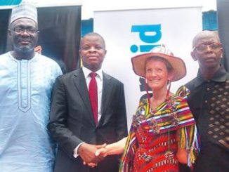 From left, Country Director, Water Aid Nigeria, Dr. Michael Ojo; Corporate Relations Director, Guinness Nigeria Plc, Mr Sesan Sobowale; International Chief Executive, WaterAid, Ms. Barbara Frost and the Commissioner for Water Resources, Bauchi State, Alhaji Mohammed Ghali Abdulhameed, at the commissioning of water and sanitation facilities constructed by Guinness Nigeria Plc in Gwam, Bauchi State.