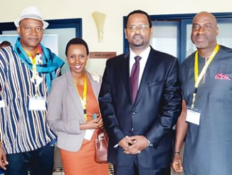 From left, Organizer Accra Weizo, Mr Ikechi Uko; Coordinator East Africa Tourism Platform, Carmen Nibigira; Chief Executive Officer, ASKY Airlines, Henok Teferra, and the Vice Chairman, Skyway Aviation Handling Company (SAHCOL Chike Ogeah, during this year's Accra Weizo in Accra,Ghana.