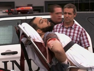 Ahmad Khan Rahami on a stretcher was wounded in a shootout with police Monday. PHOTO: WABC