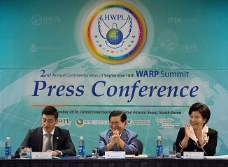 HWPL Chairman, IWPG Chairwoman, and IPYG Director at   the Press Conference for the WARP Summit on September