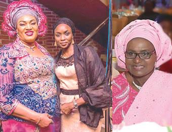From left: Chief  (Mrs) Rachel Umahi, wife of Ebonyi State governor ,  Hajiya Asma'u Abulazeez Yari, wife of Zamfara State governor  and Engr (Mrs) Bahijjahtu Hadiza Abubakar, wife of Bauchi State governor