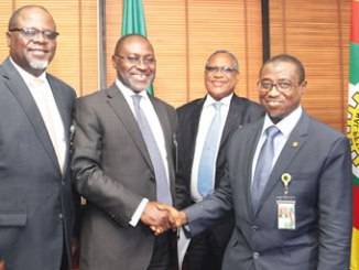 From left, Secretary General, Nigeria Gas Association (NGA), Mr Adebola Martins; President NGA, Mr Bolaji Osunsanya; Group Executive Director and Chief Operating Officer, Gas and Power Directorate, Nigerian National Petroleum Corporation (NNPC), Mr Saidu Mohammed and Group Managing Director, NNPC, Dr Maikanti Baru, during a courtesy visit by the Nigerian Gas Association Executives to the GMD of NNPC in Abuja recently.